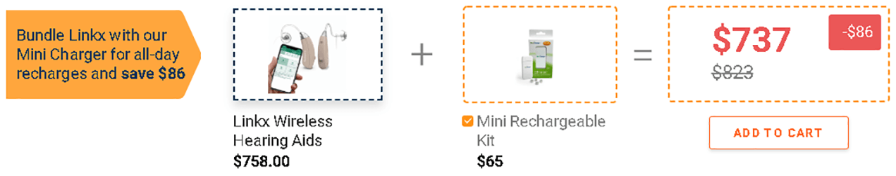 Bundle App-controlled Linkx Hearing aids with mini charger